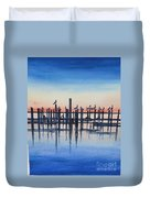 Pelicans At Dusk Duvet Cover