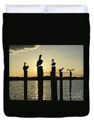Pelicans At Sunset Duvet Cover