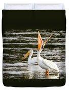 Pelicans Fishing Duvet Cover