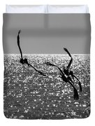 Pelicans Flying By - Black And White Duvet Cover