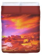Pelicans Flying Into Sunset  Duvet Cover