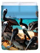 Pelicans On A Boat Duvet Cover