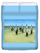 Pelicans On Pier Pilings Duvet Cover