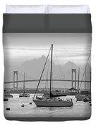 Pell Bridge Newport Harbor Newport Ri Rhode Island Purple Sunset Black And White Duvet Cover