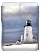 Pemaquid Point Lighthouse In Winter Duvet Cover