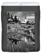 Pemaquid Point Lighthouse Maine Black And White Duvet Cover