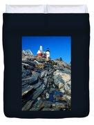 Pemaquid Point Lighthouse Reflection - Seascape Landscape Rocky Coast Maine Duvet Cover