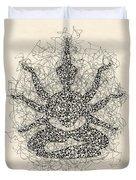 Pen And Ink Drawing Buddha  Duvet Cover