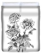 Pen And Ink Roses Duvet Cover
