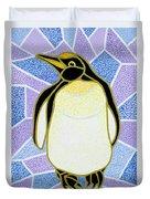 Penguin On Stained Glass Duvet Cover