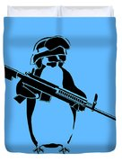 Penguin Soldier Duvet Cover by Pixel Chimp