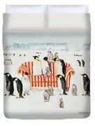 Penguins On A Red And White Sofa  Duvet Cover by EB Watts