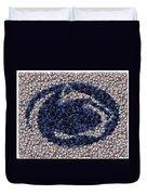 Penn State Bottle Cap Mosaic Duvet Cover by Paul Van Scott