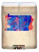 Pennsylvania Watercolor Map Duvet Cover by Naxart Studio