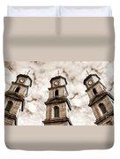 Penryn Clock Tower In Sepia Duvet Cover