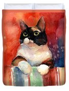 Pensive Calico Tubby Cat Watercolor Painting Duvet Cover