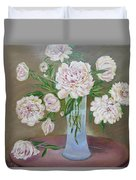 Peonies Bouquet In An Elegant Bowl On A Round Table Duvet Cover
