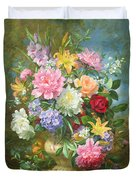Peonies And Mixed Flowers Duvet Cover