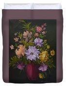 Peonies In A Red Vase Duvet Cover