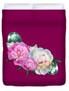 Peonies In Pink And Blue Duvet Cover