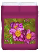 Peonies On Holiday Duvet Cover