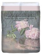 Peonies With Psalm 91.2 Duvet Cover