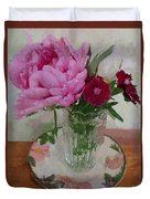 Peonies With Sweet Williams Duvet Cover