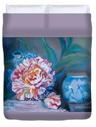 Peony And Chinese Vase Duvet Cover