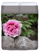 Peony On The Rocks - The Marvels Of Spring Duvet Cover