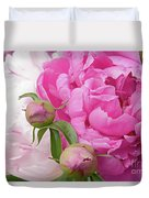 Peony Pair In Pink And White  Duvet Cover