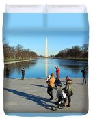 People At The Reflecting Pool Duvet Cover