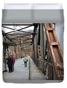 People Crossing Old Yugoslav Weathered Metal Bridge Crossing In Bosnia Hercegovina Duvet Cover