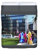 People - East Indian Women In Traditional Dress Duvet Cover