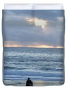 People Gather At Carmel Beach Duvet Cover