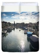 People Kayaking Through Naples Canals In Long Beach, Ca Duvet Cover