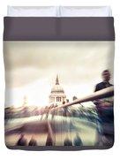People On Millennium Bridge In London Duvet Cover