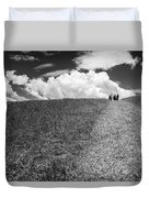 People On The Hill Bw Duvet Cover