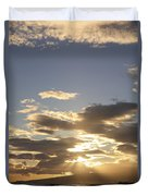 People Silhouette Sunset Duvet Cover