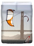 People Wind Surfing And Kitebording Duvet Cover
