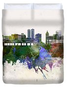 Peoria Skyline In Watercolor Background Duvet Cover