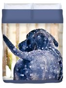 Pepper And The Snow Storm Duvet Cover