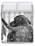 Pepper At Snow Duvet Cover