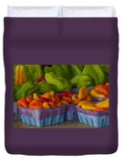 Peppers At The Produce Market Duvet Cover