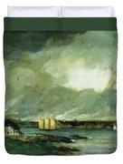 Pequot Light House Connecticut Coast 1902 Duvet Cover