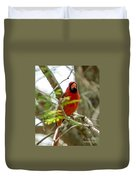 Perched Cardinal Duvet Cover