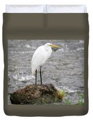 Perched Great Egret Duvet Cover