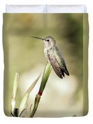 Perched Hummingbird On Flower Duvet Cover