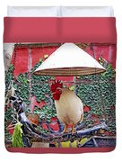 Perched Rooster Duvet Cover