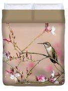 Perching Ruby-throated Hummingbird Duvet Cover