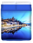 Perfect Sodermalm And Mariaberget Blue Hour Reflection Duvet Cover